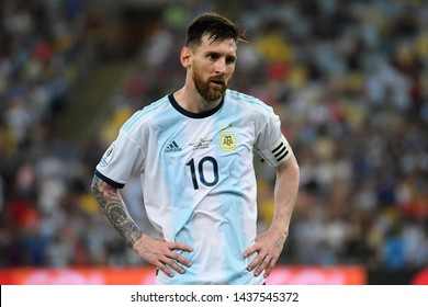 Rio de Janeiro, Brazil, June 28, 2019. Soccer player Lionel Messi of Argentina, during the Venezuela vs Argentina match for the Copa America 2019 at the Maracanã stadium.