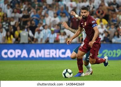 Rio de Janeiro, Brazil, June 28, 2019. Soccer player Rincon Hernandez of Venezuela celebrates his goal during the Venezuela vs Argentina game for the Copa America 2019 at the Maracanã Stadium.