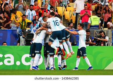 Rio de Janeiro, Brazil, June 28, 2019. Argentine soccer players celebrate their goal during the match between Venezuela and Argentina for the Copa America 2019, at the Maracanã stadium.