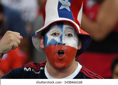 Rio de Janeiro, Brazil, June 24, 2019. Chile soccer fans during the Chile X Uruguay game for the Copa America 2019, in the Maracanã stadium.
