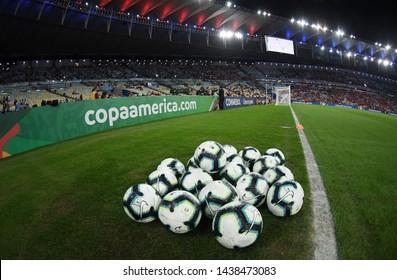 Rio de Janeiro, Brazil, June 24, 2019. Soccer balls in the field before the game Chile X Uruguay for the Copa America 2019, in the stadium of Maracanã.