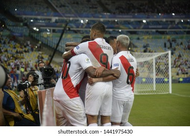 RIO DE JANEIRO, BRAZIL - June 18, 2019:Paolo Guerrero  of Peru, celebration  Copa America Group A game between Bolivia and Peru at  Maracana Stadium.
