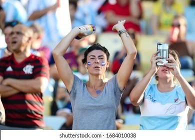 Rio de Janeiro, Brazil, June 28, 2019: fans of Argentina at the CONMEBOL America Cup Soccer match between Venezuela and Argentina at Maracana stadium.