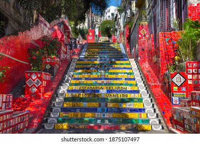 Rio de Janeiro, Brazil - June, 01, 2020 - Beautiful view of the Selaron staircase in Lapa