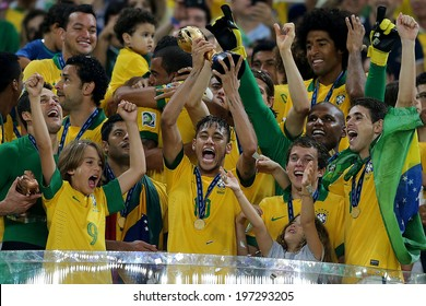 RIO DE JANEIRO, BRAZIL - June 6, 2013: The Brazil National team celebrating with fans at Maracana Stadium  after becoming the  2013 Confederations Cup champions. No Use In Brazil.