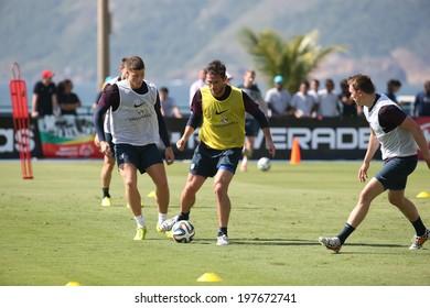 Rio de Janeiro - Brazil June 9, 2014 - English soccer team training session at Forte da Urca in preparation for the 2014 World Cup. No Use in Brazil.