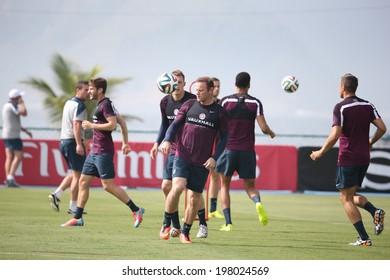 Rio de Janeiro, Brazil - June 9, 2014 - English soccer team training session at Forte da Urca in preparation for the 2014 World Cup. No Use in Brazil.