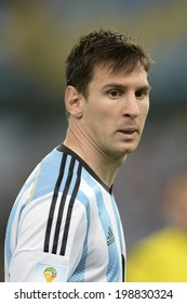 RIO DE JANEIRO, BRAZIL - June 15, 2014: Lionel MESSI  of Argentina during the 2014 World Cup Group F game between Argentina and Bosnia at Maracana Stadium.