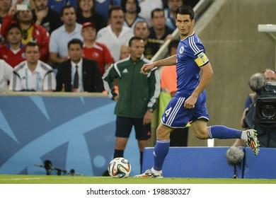 RIO DE JANEIRO, BRAZIL - June 15, 2014: Emir SPAHIC of Bosnia kicks the ball during the 2014 World Cup Group F game between Argentina and Bosnia at Maracana Stadium.