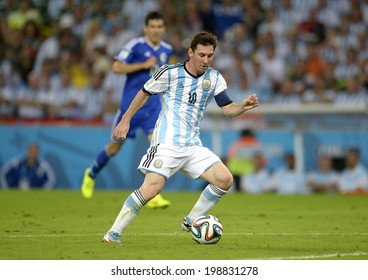RIO DE JANEIRO, BRAZIL - June 15, 2014: MESSI in action at world cup Group F game between Argentina and Bosnia at Maracana Stadium. No Use in Brazil.