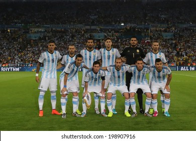RIO DE JANEIRO, BRAZIL - June 15, 2014: Argentina team posing for a photo during the FIFA 2014 World Cup. Argentina is facing Bosnia in the Group F at Maracana Stadium. No Use in Brazil.