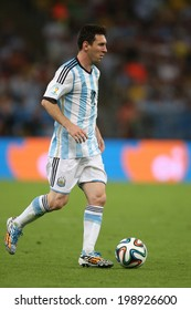 RIO DE JANEIRO, BRAZIL - June 15, 2014: MESSI of Argentina on the ball during the 2014 World Cup Group F game between Argentina and Bosnia at Maracana Stadium. No Use in Brazil.