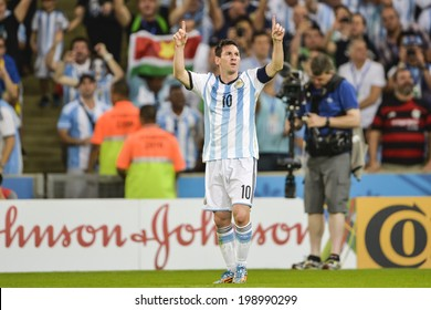 RIO DE JANEIRO, BRAZIL - June 15, 2014: Lionel MESSI of Argentina celebrates after scoring a goal during the 2014 World Cup Group F game between Argentina and Bosnia at Maracana Stadium.