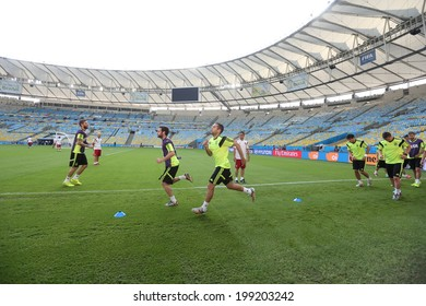 Rio de Janeiro, BRAZIL - June 17, 2014: The Spanish national football team practicing at Maracana  training center in preparation for the 2014 World Cup soccer tournament. No Use in Brazil.
