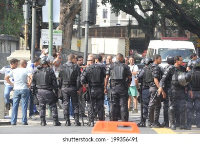 RIO DE JANEIRO, BRAZIL - June 18 2014: Security at the 2014 World Cup Group B  game between ESPANHA and CHILE at Maracana Stadium. No Use in Brazil.