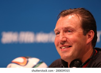 RIO DE JANEIRO, BRAZIL - JUNE 21, 2014: Marc Wilmots, coach of Belgium is seen during a press conference. NO USE IN BRAZIL.