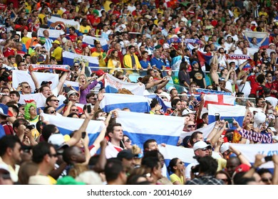 RIO DE JANEIRO, BRAZIL - June 22, 2014: Soccer fans celebrating at the 2014 World Cup Group H game between Belgium and Russia at Maracana Stadium. No Use in Brazil.
