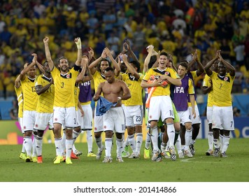 RIO DE JANEIRO, BRAZIL - June 28, 2014  World Cup Round of 16 game between Colombia and Uruguay at Maracana Stadium. No Use in Brazil.