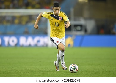 RIO DE JANEIRO, BRAZIL - June 28, 2014: James RODRIGUEZ of Colombia with the ball during the World Cup Round of 16 game between Colombia and Uruguay at Maracana