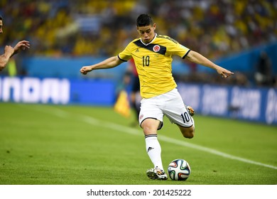 RIO DE JANEIRO, BRAZIL - June 28, 2014:James RODRIGUEZ Colombia competes for the ball during the World Cup Round of 16 game between Colombia and Uruguay at Maracana