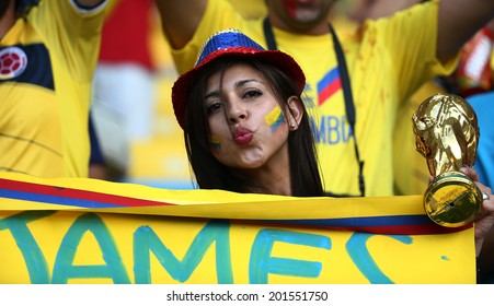 RIO DE JANEIRO, BRAZIL - June 28 2014: Soccer fans celebrating at the 2014 World Cup game between Colombia  and Uruguay at Maracana Stadium. No Use in Brazil