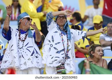 RIO DE JANEIRO, BRAZIL - June 25, 2014: Ecuador fans celebrating at the 2014 World Cup Group E game between Ecuador and France at Maracana Stadium.