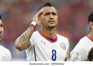 RIO DE JANEIRO, BRAZIL - June 18, 2014: Arturo VIDAL of Chile, during the FIFA 2014 World Cup. Spain is facing Chile in the Group B at Maracana Stadium