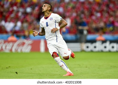 RIO DE JANEIRO, BRAZIL - June 18, 2014: Arturo VIDAL of Chile during the FIFA 2014 World Cup. Spain is facing Chile in the Group B at Maracana Stadium