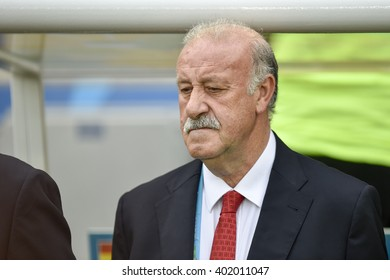 RIO DE JANEIRO, BRAZIL - June 18, 2014: Coach Vicente DEL BOSQUE (ESP) during the FIFA 2014 World Cup. Spain is facing Chile in the Group B at Maracana Stadium