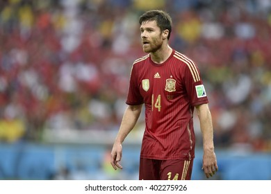 RIO DE JANEIRO, BRAZIL - June 18, 2014: Xabi ALONSO of Spain during the FIFA 2014 World Cup. Spain is facing Chile in the Group B at Maracana Stadium
