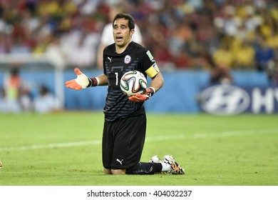 RIO DE JANEIRO, BRAZIL - June 18, 2014: Claudio BRAVO of Chile, during the FIFA 2014 World Cup. Spain is facing Chile in the Group B at Maracana Stadium