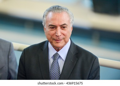 Rio de Janeiro, Brazil - june 14, 2016:  President Michael Temer in exercise during presidential trip to Rio de Janeiro to visit the Olympic Park.
