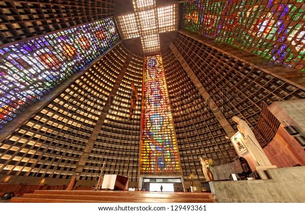 RIO DE JANEIRO BRAZIL - JUNE 19: Sunday Mass at Cathedral Sao Sebastian, patron of the city and the seat of the archbishop of Rio de Janeiro June 19, 2011