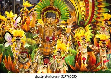 Rio de Janeiro, Brazil - Mar 5, 2011: A Samba school parades in the Sambadrome in Carnival