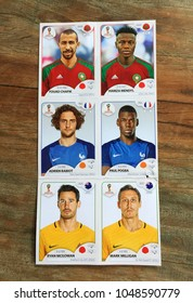 Rio de Janeiro - Brazil, March 18, 2018 - Launch of the album of cards, of the selections that will compete in the football world cup in Russia 2018. cards with the players of your soccer teams