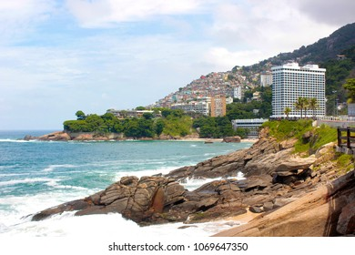 "RIO DE JANEIRO, BRAZIL - MARCH 15, 2016: Panoramic view of  Vidigal neighborhood and favela in Rio de Janeiro city from the ""Mirante do Leblon""."