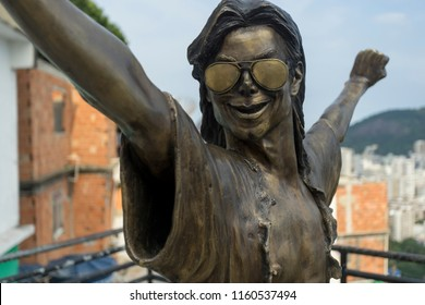 Rio de Janeiro, Brazil - March 7, 2016: Closeup of the bronze statue of Michael Jackson in Rio de Janeiro favela Santa Marta where the videoclip for 'They don't really care about us' was shot