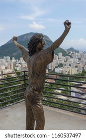 Rio de Janeiro, Brazil - March 7, 2016: Michael Jackson statue in Rio de Janeiro favela Santa Marta where the videoclip for 'They don't really care about us' was shot with view over the city