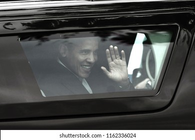 Rio de Janeiro, Brazil, March 20, 2011. President of the United States Barack Obama arriving in an armored car to visit the community of Cidade de Deus in the west zone of the city of Rio de Janeiro.