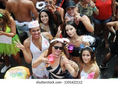 Rio de Janeiro, Brazil, March 5, 2019. Foliões during the deesfile and presentation of the carnival block Lud Fervo in the center of the city of Rio de Janeiro.