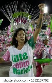 Rio de Janeiro, Brazil    March 06, 2019  Carnival  Monica Benicio, widow of murdered politician Marielle Franco parades on Mangueira samba school to remeber the human rights