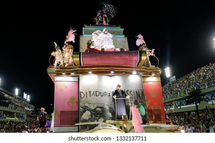 Rio de Janeiro, Brazil    March 06, 2019  Carnival  Mangueira samba school parades a float with mention to former dictorship period (1964- 1983)  in Brazil as a protest