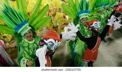 Rio de Janeiro, Brazil    March 06, 2019  Carnival  Mangueira samba school parades representing people as a puppets to protest for the human rights