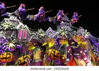 Rio de Janeiro, Brazil  March 03, 2019  Samba dancer performs over a float at the Rio Samba School parade in a tribute to Haloween