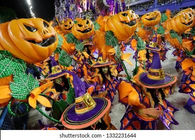 Rio de Janeiro, Brazil  March 03, 2019  Samba dancer performs at the Rio Samba School parade in a tribute to Haloween
