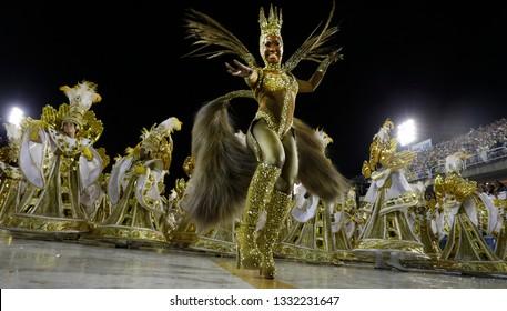 Rio de Janeiro, Brazil  March 03, 2019  Samba dancer performs at the Rio Samba School parade