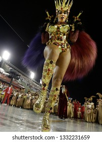 Rio de Janeiro, Brazil  March 03, 2019 Queen of Drums Quiteria Chagas  performs  at the Rio Samba School parade