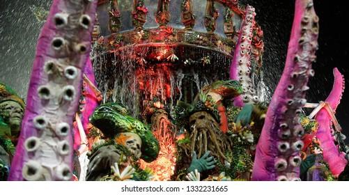 Rio de Janeiro, Brazil  March 03, 2019  Samba dancers performs as caracters of Pirates of Caribean movie at the Rio Samba School parade