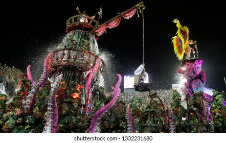 Rio de Janeiro, Brazil  March 03, 2019  Samba dancers performs on a float as caracters of Pirates of Caribean movie at the Rio Samba School parade