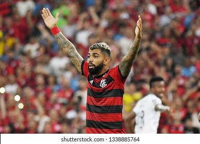 Rio de Janeiro, Brazil, March 13, 2019. Football player Gabriel Gabigol of the Flamengo team during a match against LDU for the Copa Libertadores of America in the Maracanã stadium.